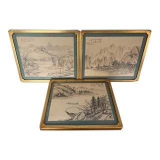 Early 20th Century Antique Chinese Landscape Paintings - Set of 3 For Sale
