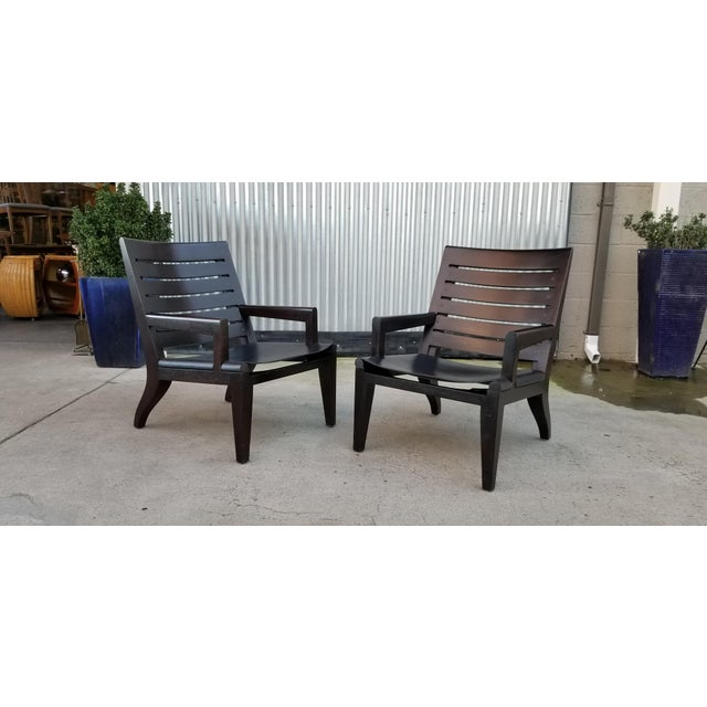 Wood Lounge Chairs by Christian Liaigre for Holly Hunt - a Pair For Sale - Image 7 of 13