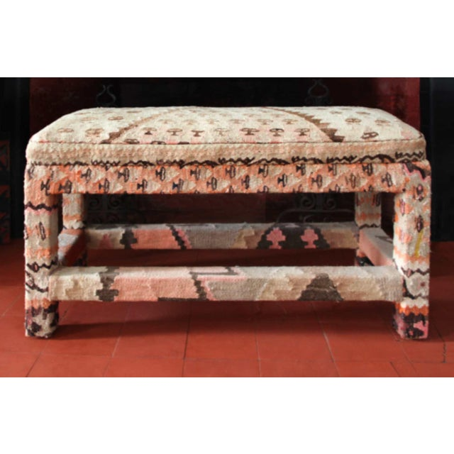 Late 20th Century Kilim Upholstered Bench For Sale In Providence - Image 6 of 7