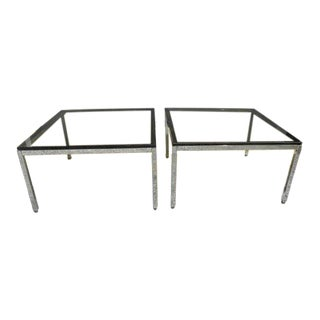 1970s Mid Century Modern Smoked Glass and Chrome Coffee End Tables - a Pair For Sale