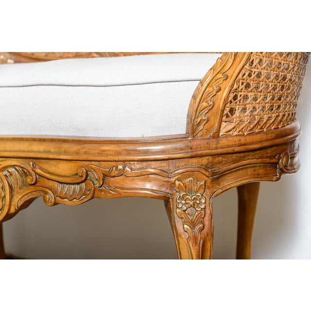 French Antique French C.1870-1880 Louis XVI Style Hand Carved Wood Settee With Double Canning For Sale - Image 3 of 13