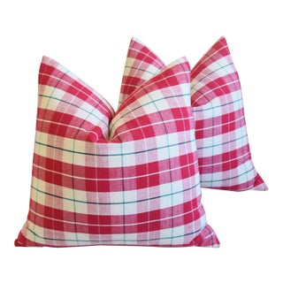 """French Country Red & White Plaid Feather/Down Pillows 21"""" Square - Pair For Sale"""