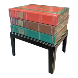 Mid Century - Hollywood Regency Faux Books Side Table For Sale