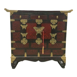 Final Markdown - Brass Butterfly Hinge Petite Asian Altar Cabinet For Sale