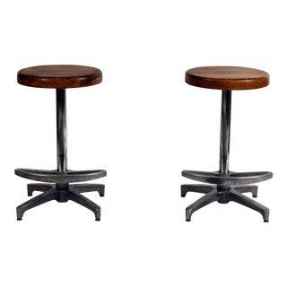 Pair of Counter Height Swiveling Bar Stools For Sale
