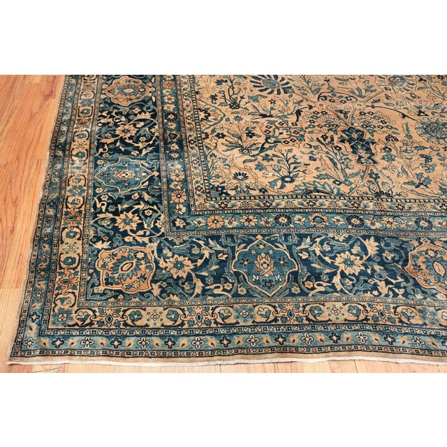 Gold Antique Persian Kerman Oversized Vase Design Carpet - 13′6″ × 25′5″ For Sale - Image 8 of 13