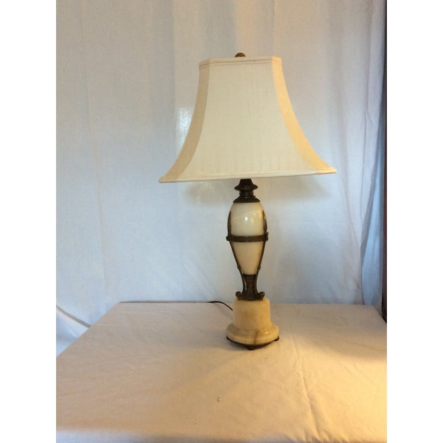 Metal Antique Alabaster and Bronze Lamp For Sale - Image 7 of 8