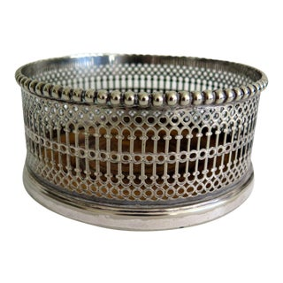 Antique Silver Plated Wine and Champagne Coaster For Sale