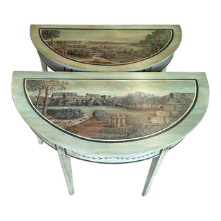 Stunning Gustavian Style Painted Demilune Tables - a Pair For Sale