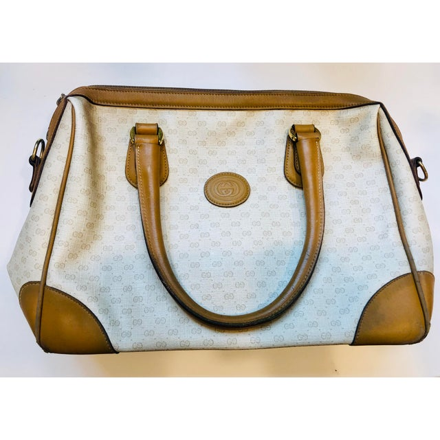 1980s 1980s Gucci Canvas Logo Satchel For Sale - Image 5 of 13
