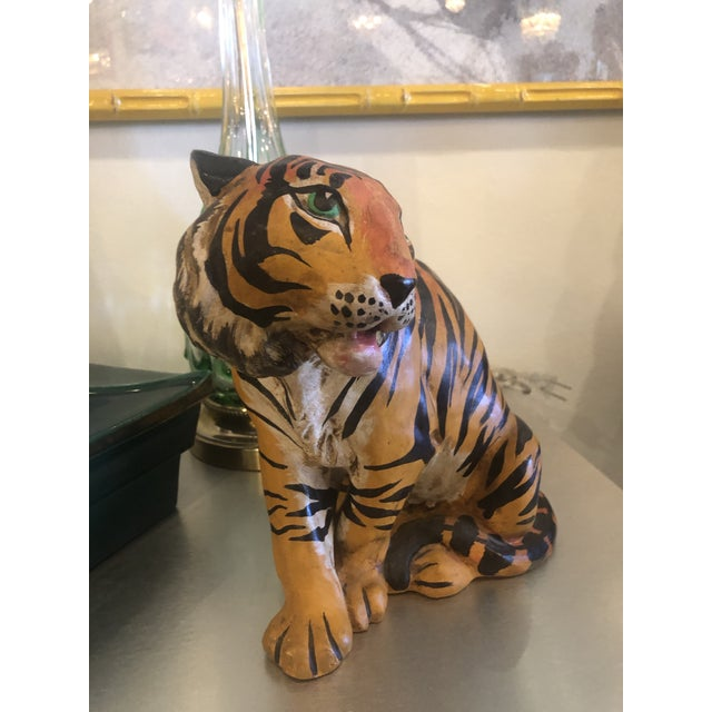 Green Vintage Hollywood Regency Italian Terracotta Tiger Statue For Sale - Image 8 of 13