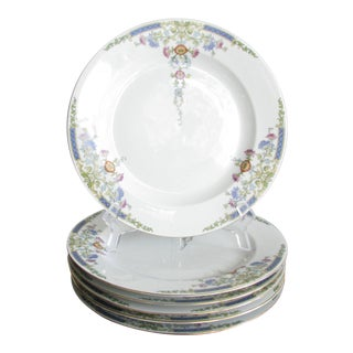 Hutschenreuther Selb Bavaria Floral Edwardian Style Dinner Plates - Set of 6 For Sale