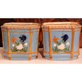 19th Century French Hand-Painted Barbotine Cache Pots With Flowers - A Pair Preview