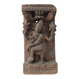 Antique Teak Wood Panel Carving of an Indian Goddess, Wall Hanging For Sale