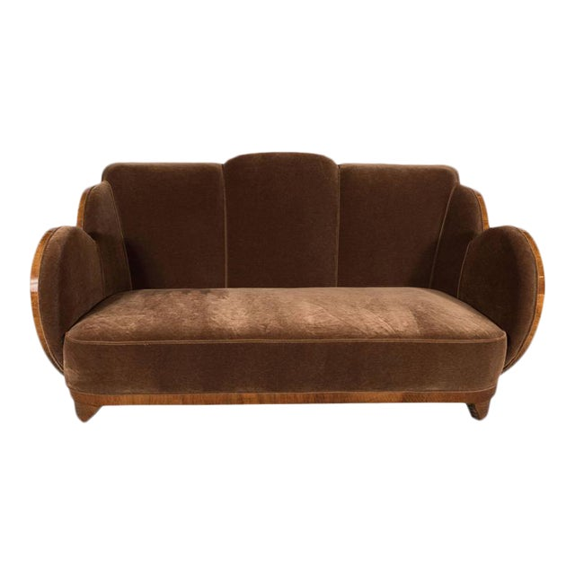 "Gorgeous Art Deco ""Cloud"" Series Sofa in Bookmatched Walnut and Chestnut Mohair For Sale"