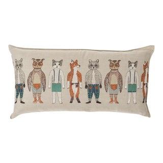 Contemporary Linen Pocket Dolls Lumbar Pillow
