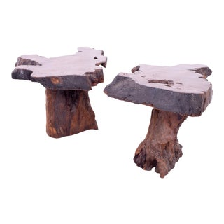Mid Century George Nakashima Style Live Edge Side End Tables - Pair For Sale