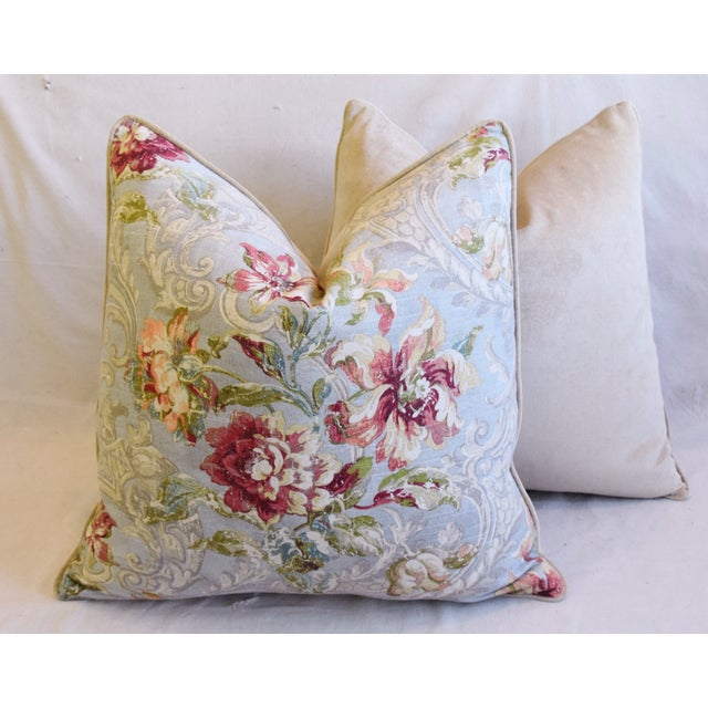 "French Floral Linen & Velvet Feather/Down Pillows 24"" Square - Pair For Sale - Image 11 of 13"