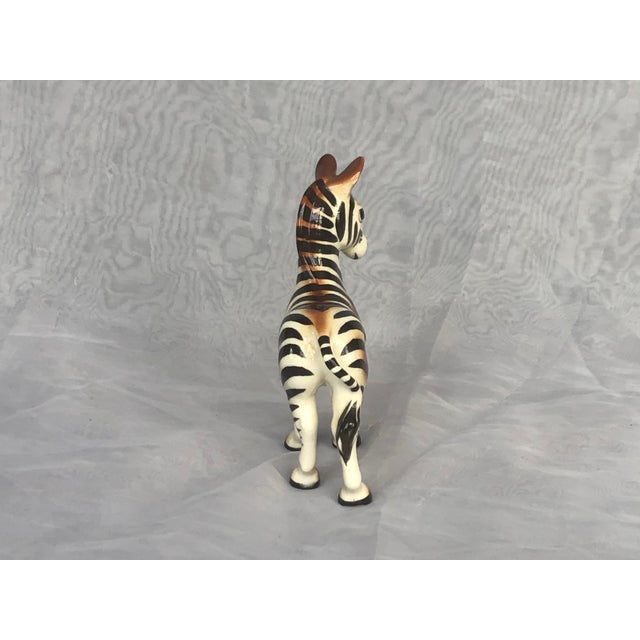 Black Mid-Century Modern Fern Importation Ceramic Zebra Figurine For Sale - Image 8 of 12