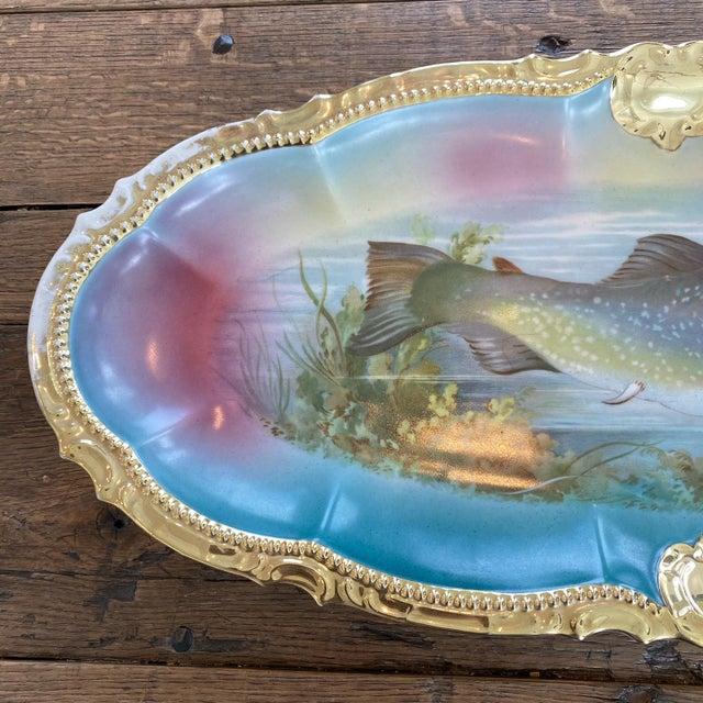 Blue German Porcelain Handpainted Gold Gilt Fish Serving Set -Set of 15 For Sale - Image 8 of 13