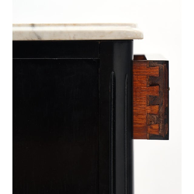 Metal Petite Louis XVI Style Ebonized Mahogany Bookcase For Sale - Image 7 of 10
