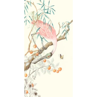 """Chinoiserie Style Spoonbill Bird Painting, """"I Pink I Love You"""" For Sale"""