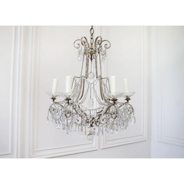 Antique French Beaded Arm Chandelier For Sale - Image 9 of 9