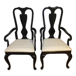 Queen Anne Style Off White Upholstered Black Wood Armed Chairs - a Pair For Sale