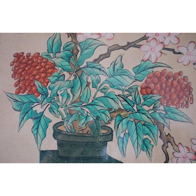 1930s Chinese Hand Painted Asian Vase and Flowers Painting on Silk With Custom Frame For Sale - Image 5 of 11