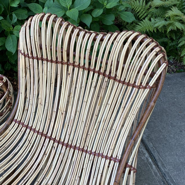 2010s Modern Franco Albini Style Rattan Armchairs- A Pair For Sale - Image 5 of 10