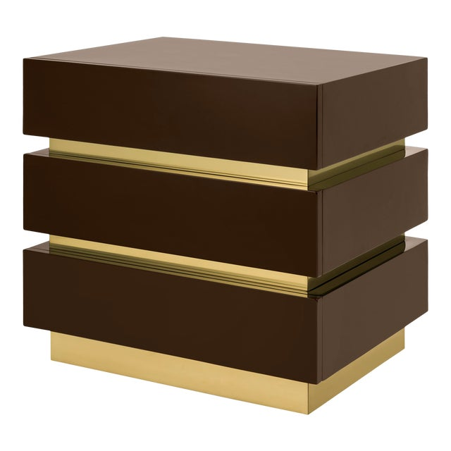 Banded Nightstand in Brown / Brass - Flair Home for The Lacquer Company For Sale