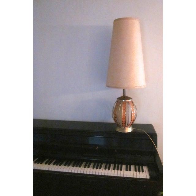 Mid Century Modern Orange Dot Brass Lamp - Image 8 of 9