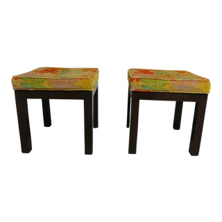 Vintage Upholstered Stools Original Fabric - a Pair