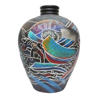 Oversized Vintage Native American Pottery Terra Cotta Vase