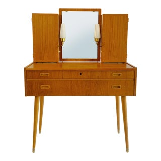 Swedish Mid Century Mirrored Vanity Dresser With Lighting For Sale