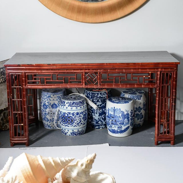 Antique Chinese Chippendale Bamboo Altar Table/Console For Sale - Image 10 of 13