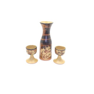 1970s Mid-Century Modern Pacific Stoneware Wine Water Carafe & Goblets - Set of 3 For Sale