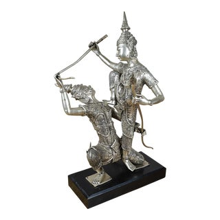 Mid 20th Century Silverplated Thai Dancer Sculptural Group For Sale