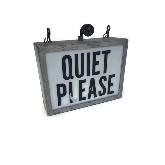 Metal Mid Century Modern Light up Wall Sign Hanging Sign Quiet on the Set For Sale - Image 7 of 9