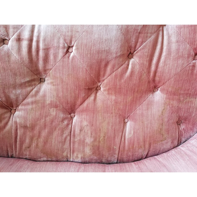 Pink Large Antique Maple and Velvet Sofa For Sale - Image 8 of 13