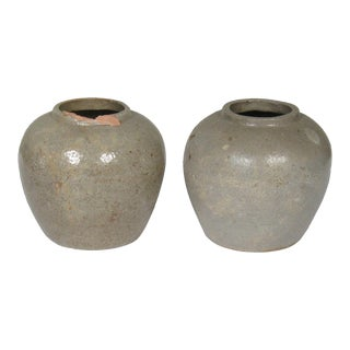 Chinese Earthenware Ginger Jars - a Pair For Sale