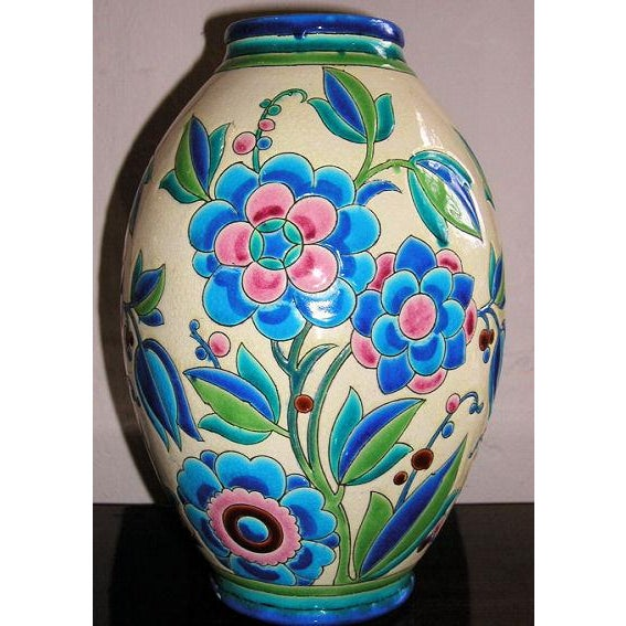 Ceramic 1930s Keramis Boch Blue Green and Pink Ceramic Vase For Sale - Image 7 of 8