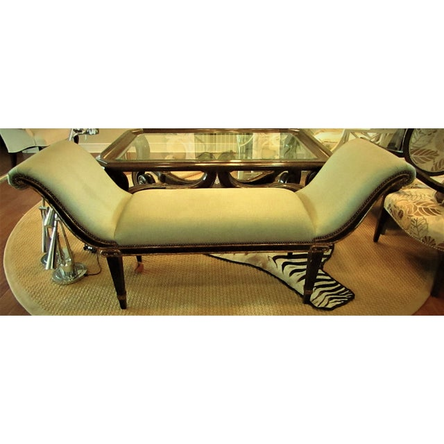 "Americana Marge Carson ""Iona"" Seafoam Upholstered Bench For Sale - Image 3 of 6"