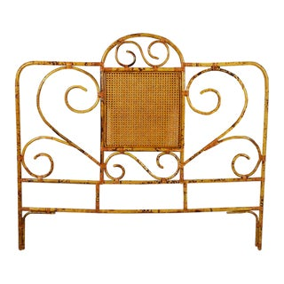 20th Century Tortoise Bamboo or Burnt Bamboo Cane and Rattan Full Size Headboard For Sale