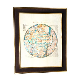 "1960s Vintage Mid Century Gold Framed ""Monialium Ebstorfensium Mappammundi"" Medieval European Map of the World Preview"