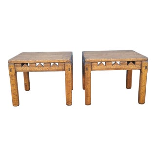 Rustic Wood End Tables - A Pair For Sale