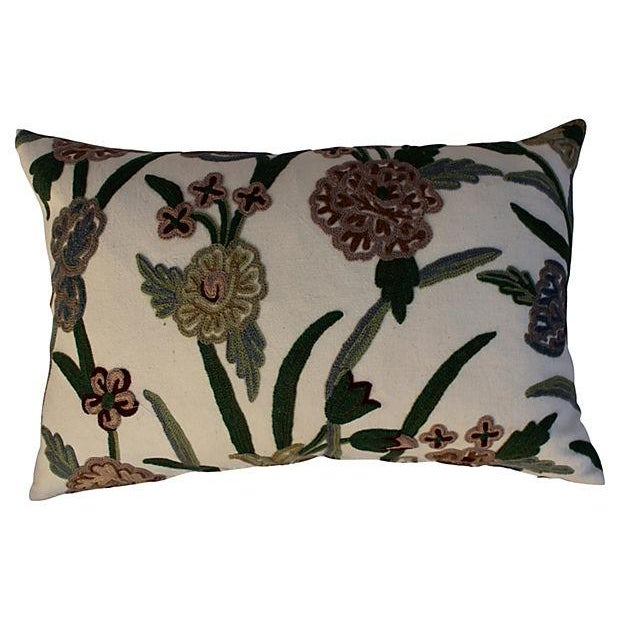 Traditional English Crewelwork Floral Pillows - Pair For Sale - Image 3 of 6