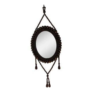 Wood Beaded Hanging Mirror