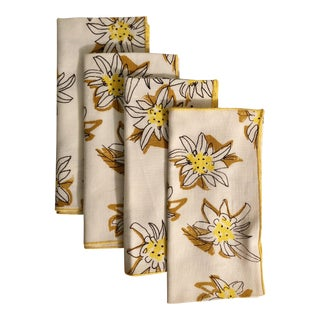 Vintage Vera Linen Daffodil Napkins - Set of 4 For Sale