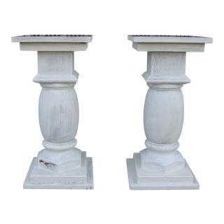 Vintage 1980s Wooden Pedestals - a Pair For Sale
